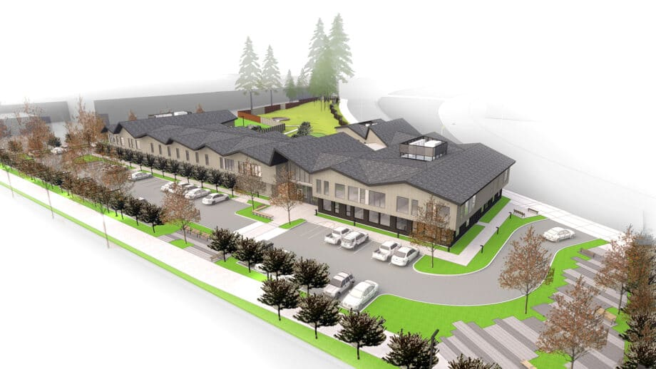 Artist's rendering aerial view of Fora Health building