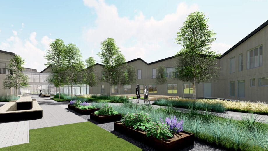 Rendering of plant and flower beds in courtyard of Fora Health facilities