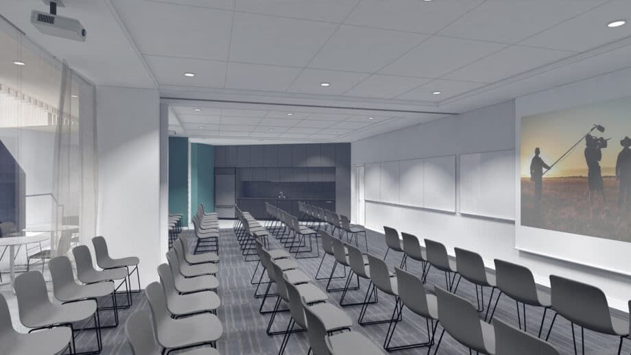 Artist rendering of classroom with chairs arranged in rows
