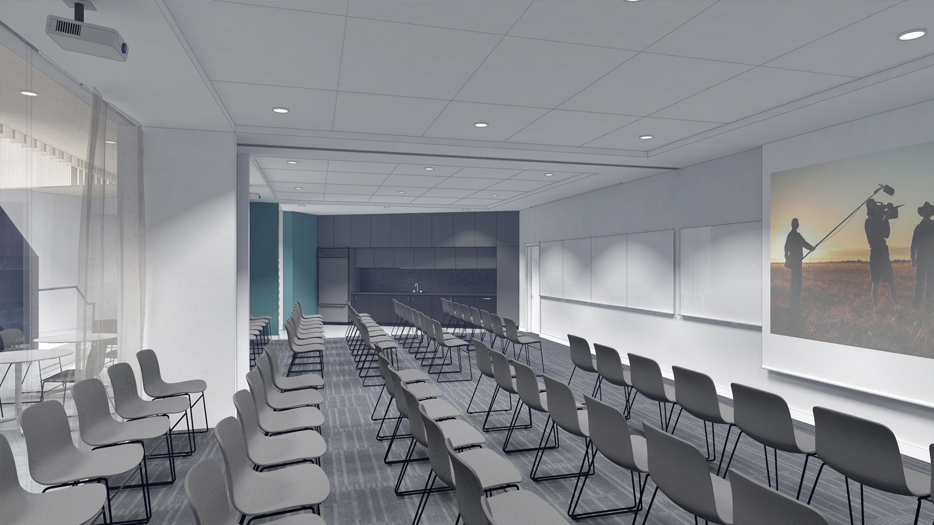 Artist rendering of classroom with charis arranged in rows
