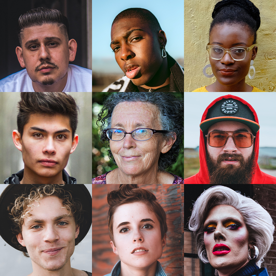 Portraits of a diverse group of people